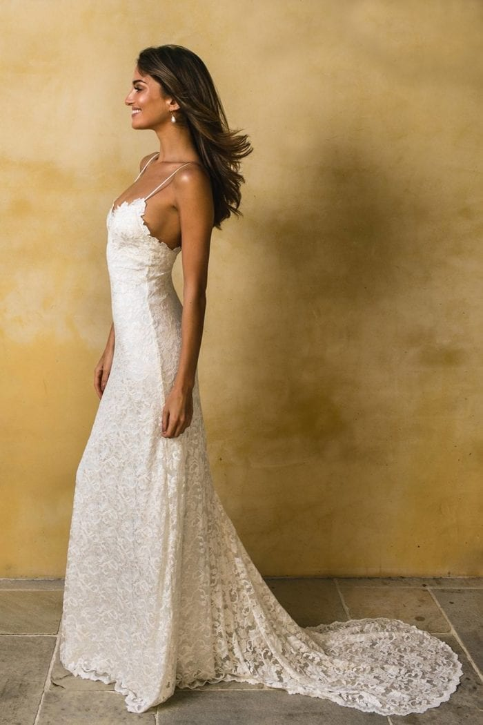 Side shot of bride wearing Grace Loves Lace Mia Gown
