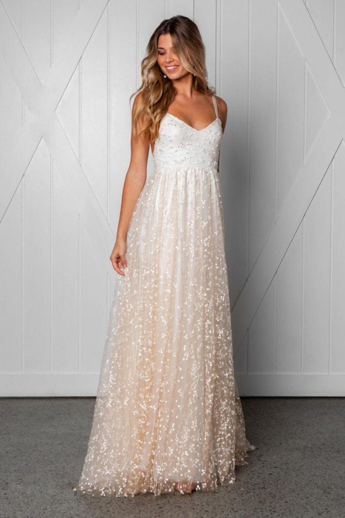 Blonde bride wearing Grace Loves Lace Menha Gown