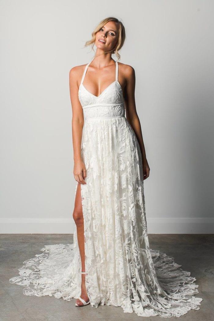 Blonde bride wearing Grace Loves Lace Megan Gown
