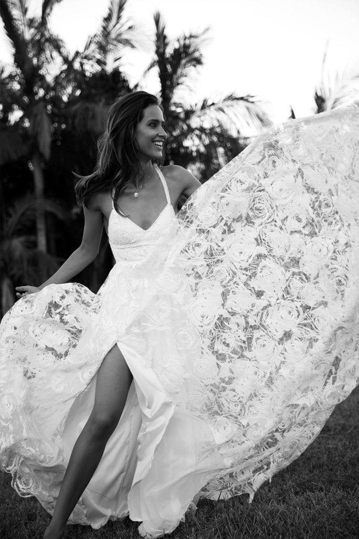 Black and white shot of bride wearing Grace Loves Lace Megan Gown