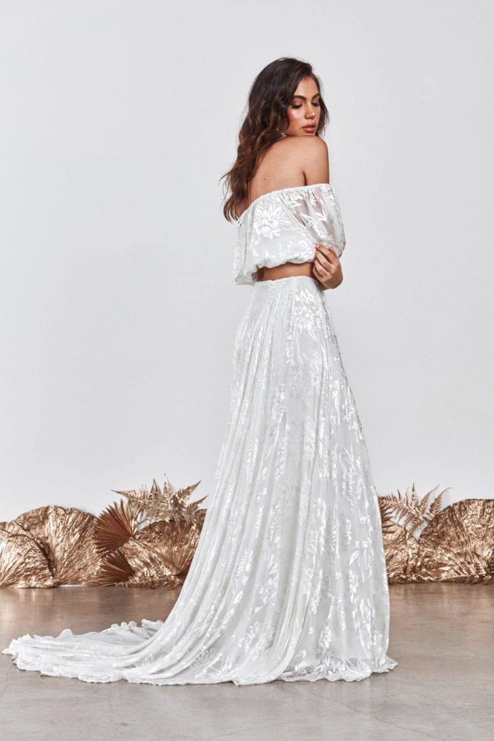 Back shot of bride wearing Grace Loves Lace Loyola Set