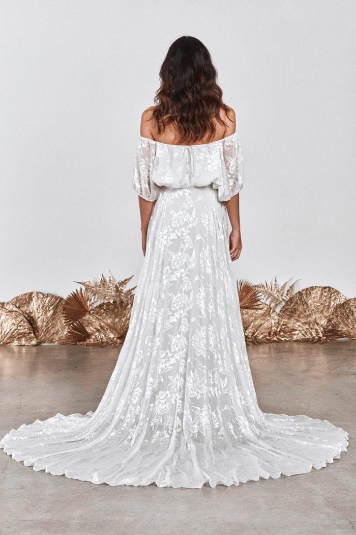 Back shot of brunette bride wearing Grace Loves Lace Loyola Set