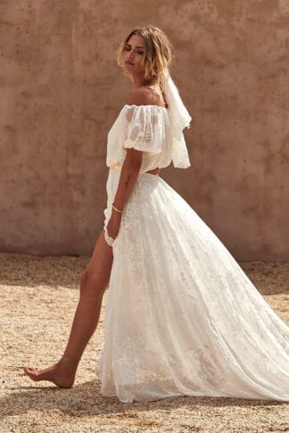 Blonde bride wearing Grace Loves Lace Loyola Set and matching veil in the sun