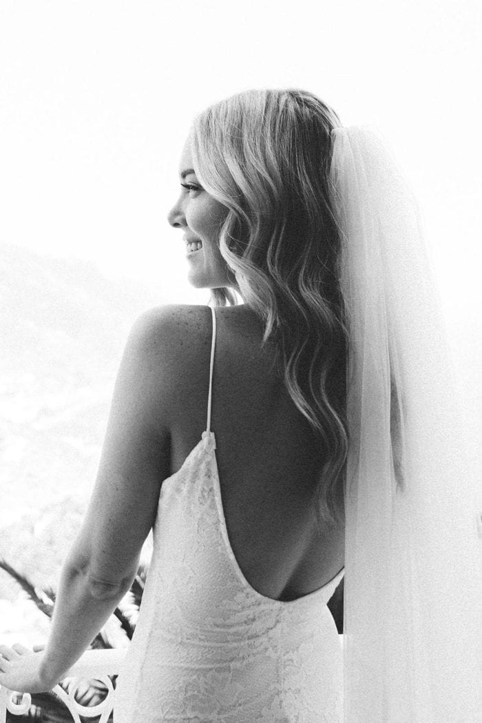 Black and white shot of bride wearing Grace Loves Lace Lottie Gown