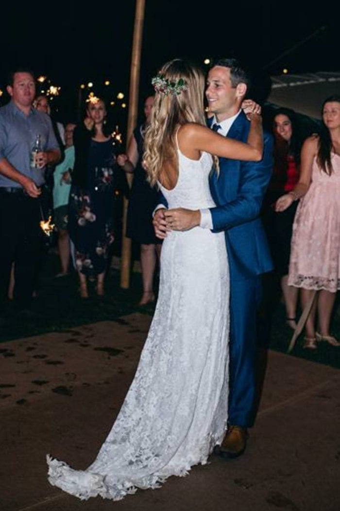 Blonde bride wearing Grace Loves Lace Lottie Gown dancing with groom