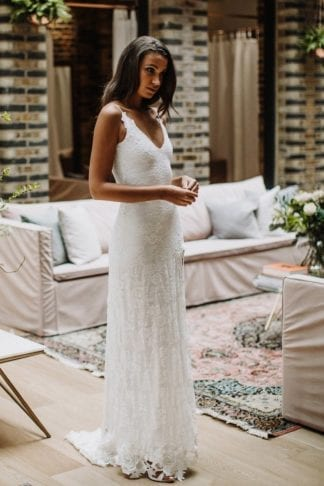 Brunette bride wearing Grace Loves Lace Lottie Gown
