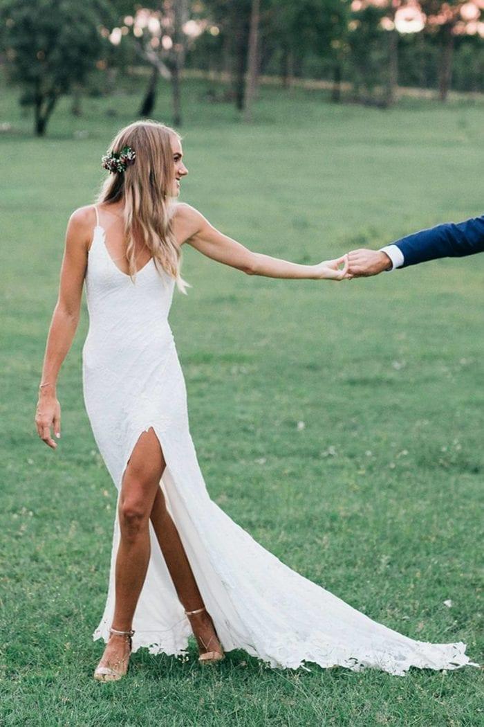 Blonde bride wearing Grace Loves Lace Lottie Gown
