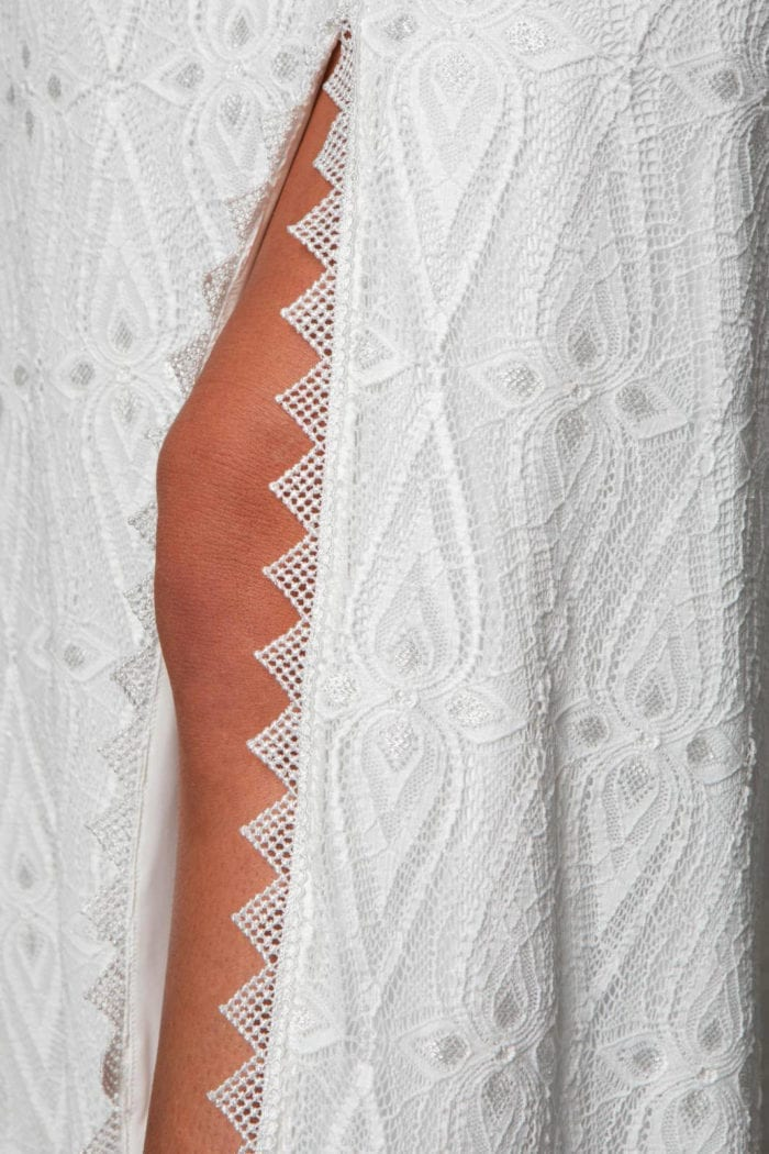 Close-up of bride wearing Grace Loves Lace Leon Gown showing skirt trim