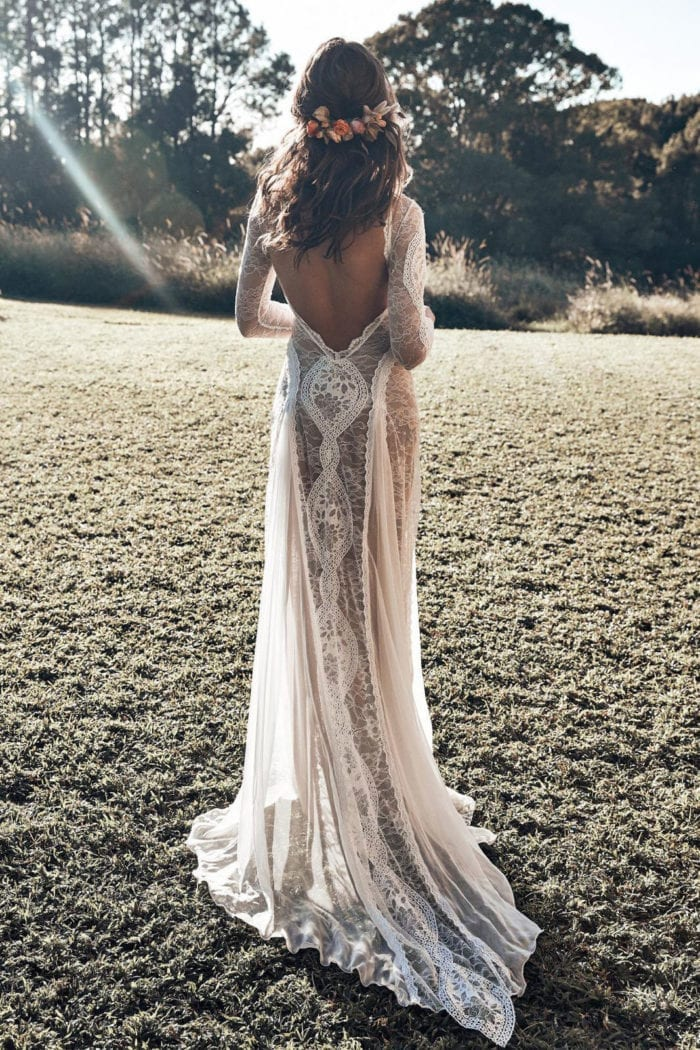 Back shot of bride wearing Grace Loves Lace Inca Gown