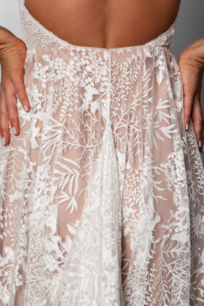 Close-up of bride wearing Grace Loves Lace Harri Gown