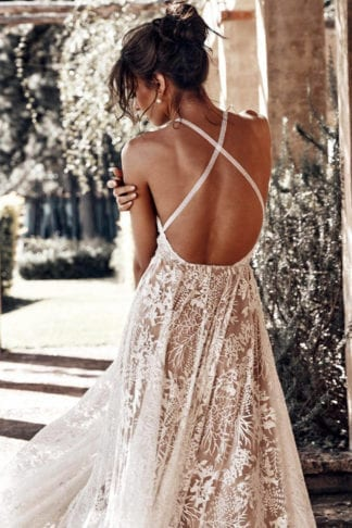 Back shot of bride wearing Grace Loves Lace Harri Gown