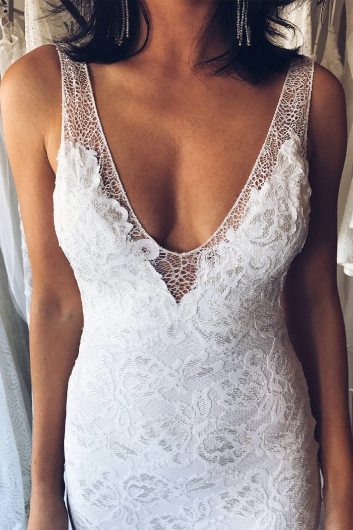 Close-up of bride wearing Grace Loves Lace Gia Gown