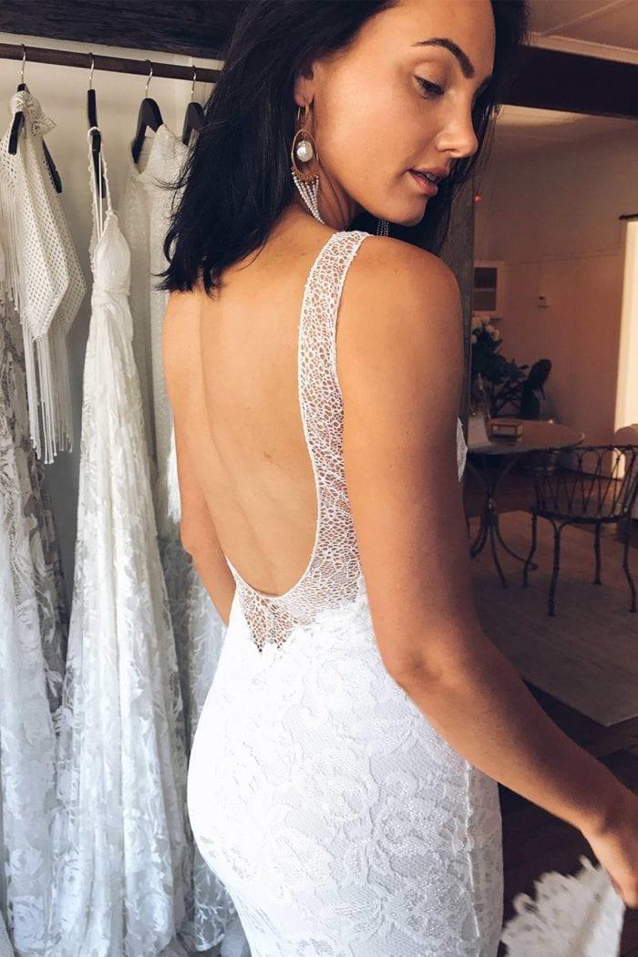 Brunette bride wearing Grace Loves Lace Gia Gown