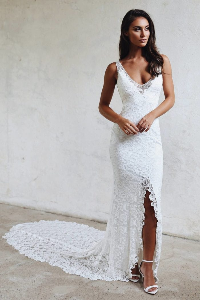 Brunette bride wearing Grace Loves Lace Gia Gown