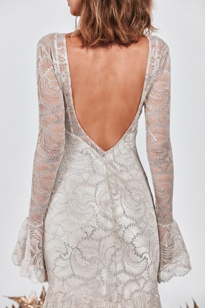 Back shot of bride wearing Grace Loves Lace Farrow Gown
