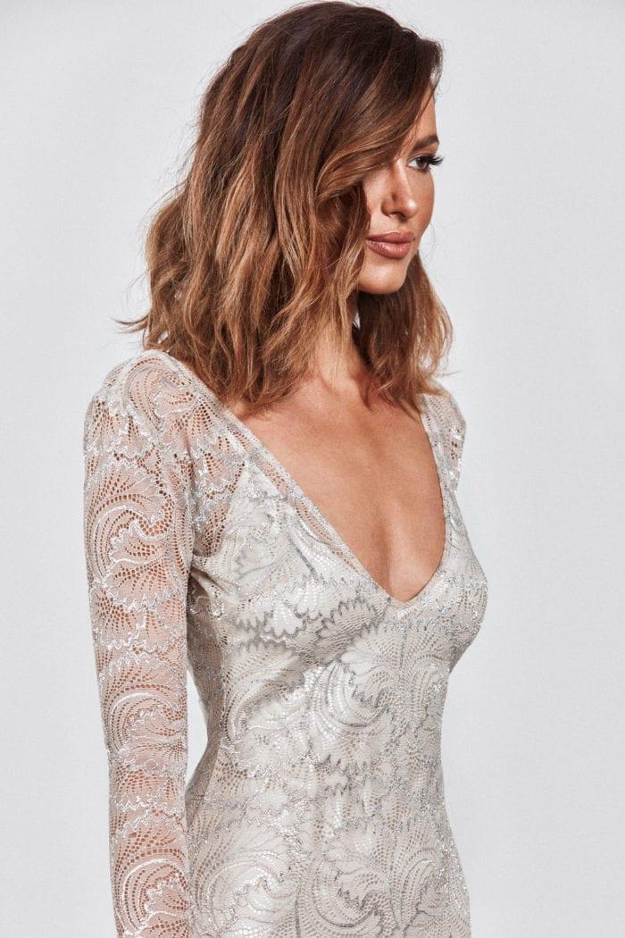 Brunette bride wearing Grace Loves Lace Farrow Gown