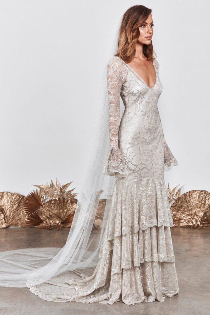 Brunette bride wearing Grace Loves Lace Farrow Gown and veil