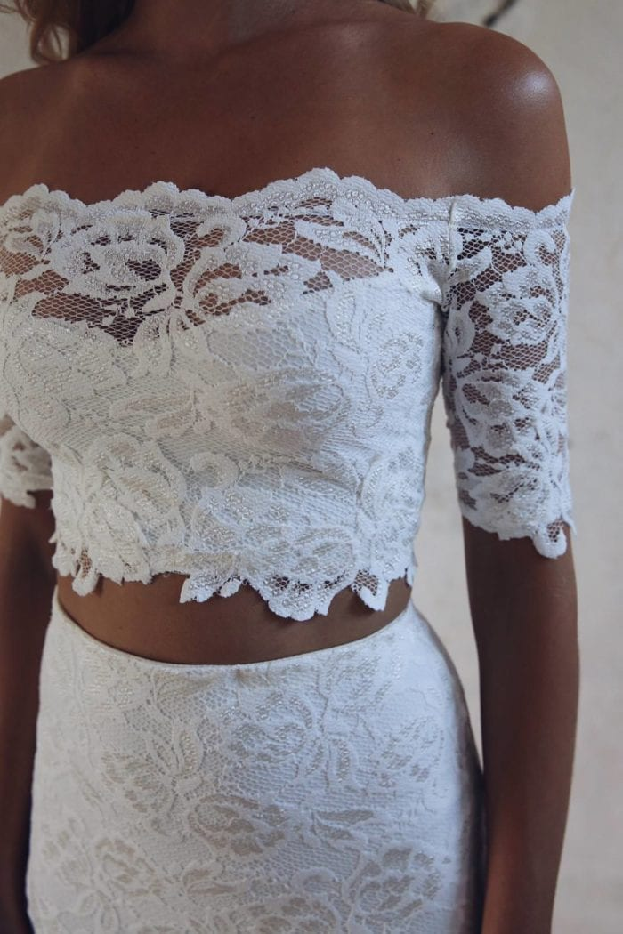 Close-up of bride wearing Grace Loves Lace Everly Gown