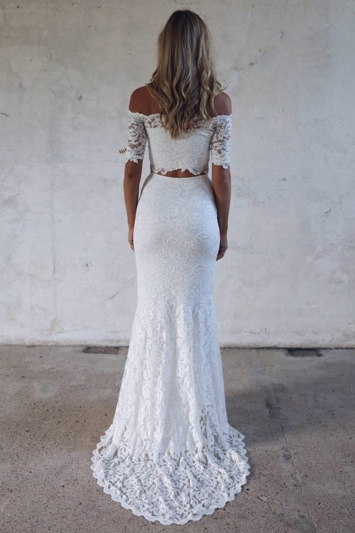 Back shot of bride wearing Grace Loves Lace Everly Gown
