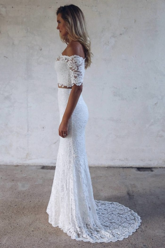 Blonde bride wearing Grace Loves Lace Everly Gown