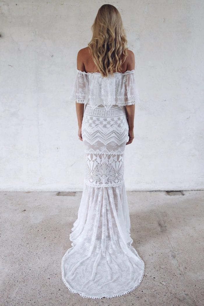Back shot of blonde bride wearing Grace Loves Lace Emanuela Gown