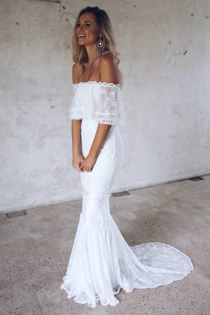 Blonde bride wearing Grace Loves Lace Emanuela Gown