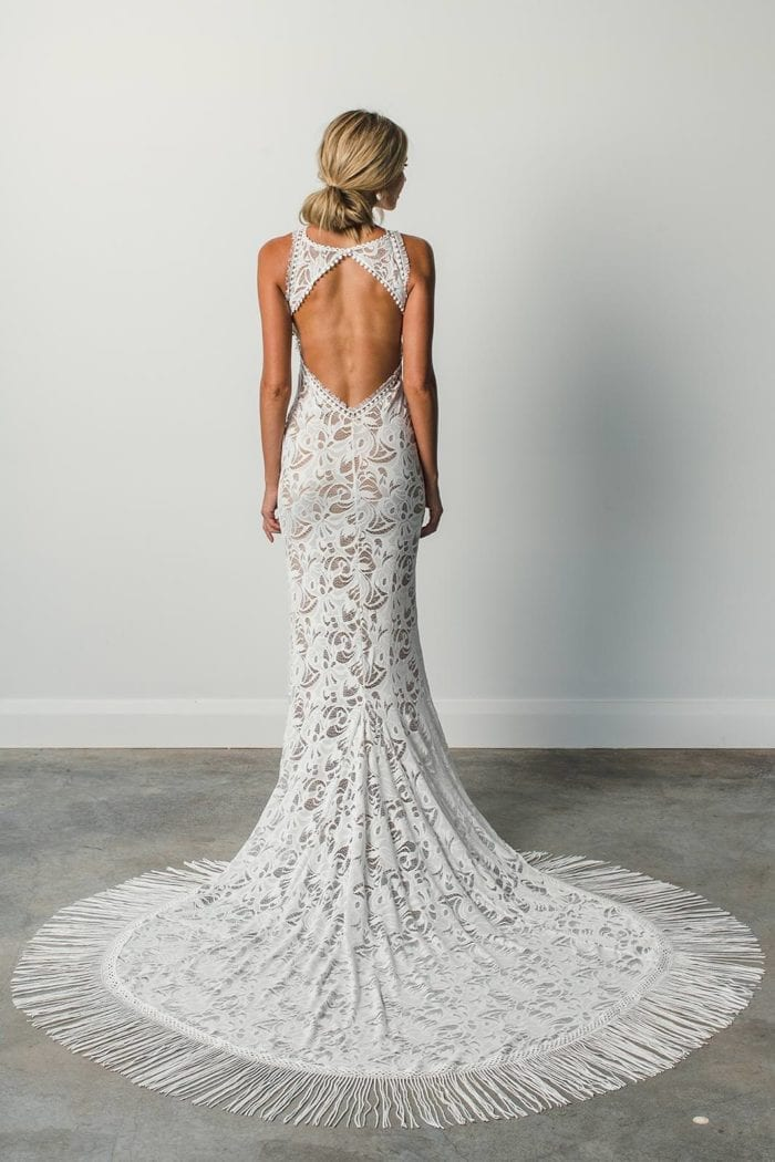 Back shot of bride wearing Grace Loves Lace Edie Gown