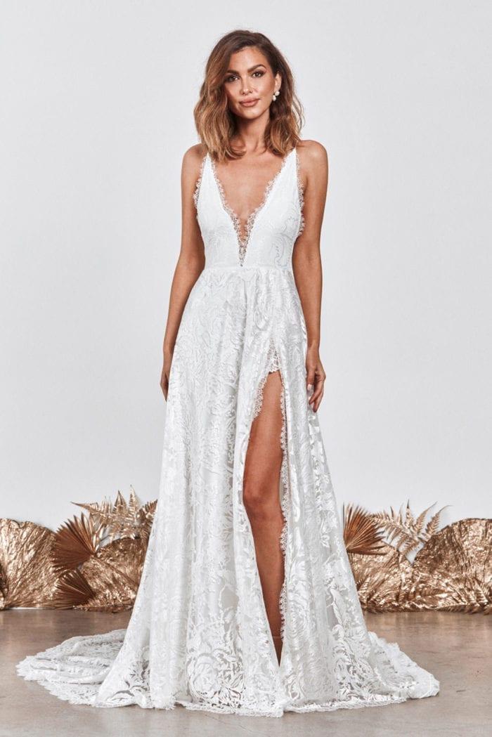 Brunette bride wearing Grace Loves Lace Darling Gown