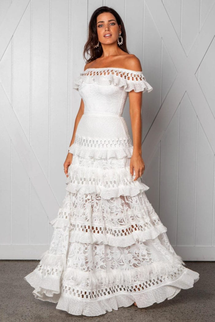 Brunette bride wearing Grace Loves Lace Coco Gown
