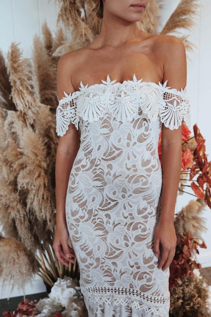 Torso shot of bride wearing Grace Loves Lace Cien Gown