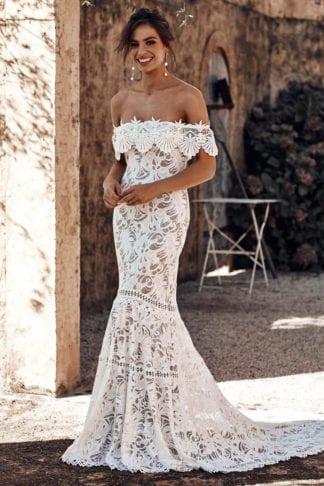 Brunette bride wearing Grace Loves Lace Cien Gown laughing