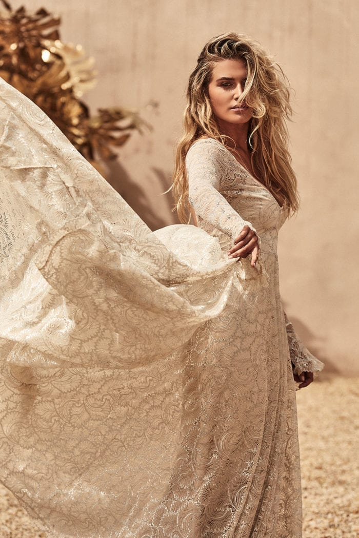 Blonde bride wearing Grace Loves Lace Bea Gown