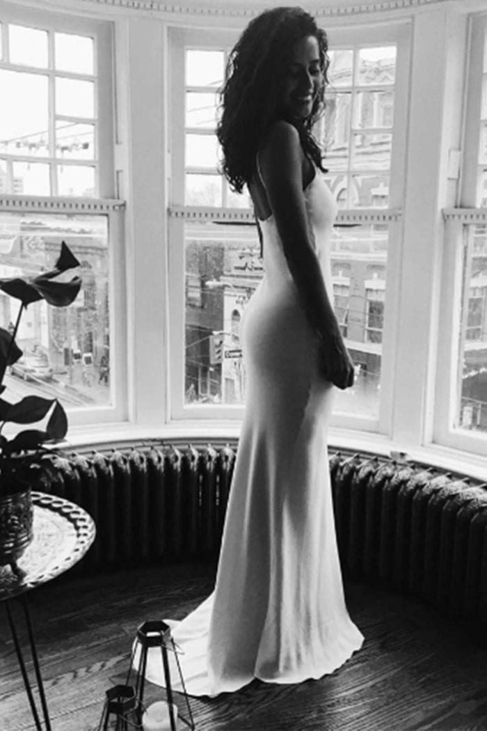 Black and white shot of bride wearing Grace Loves Lace Arlo Gown
