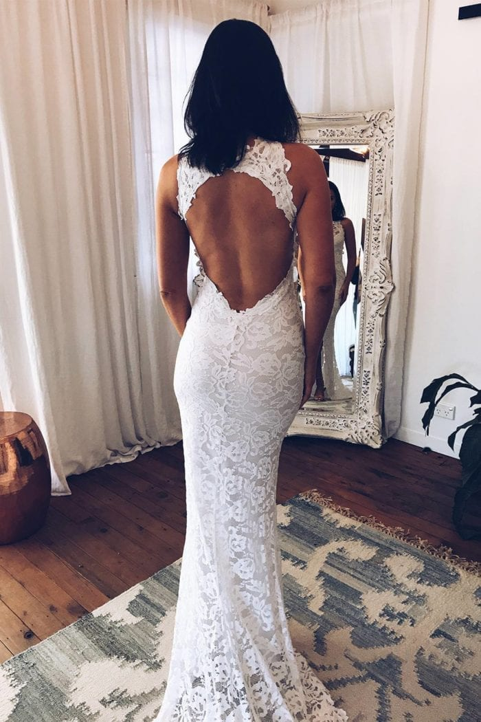 Back shot of bride wearing Grace Loves Lace Alexandra Gown