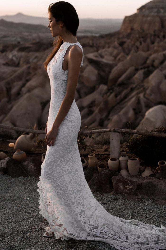 Side shot of bride wearing Grace Loves Lace Alexandra Gown