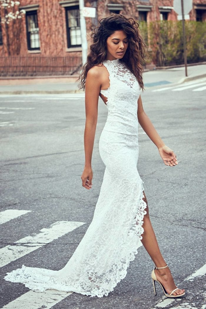 Bride wearing Grace Loves Lace Alexandra Gown walking across road