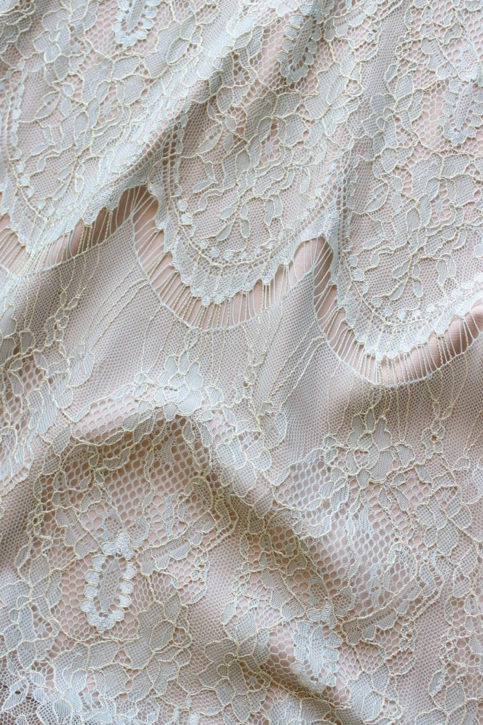 Close-up of Grace Loves Lace Lace Maxi Dress in Peridot detail