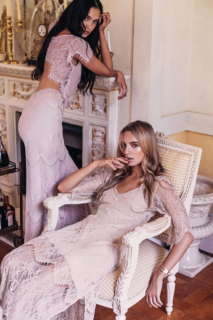 Two bridesmaid wearing Grace Loves Lace Lace Maxi Dress in Champagne
