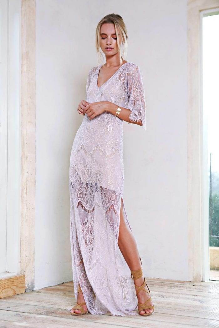 Bridesmaid wearing Grace Loves Lace Lace Maxi Dress in Amethyst with nude heels