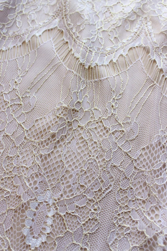Close-up of Grace Loves Lace High Neck Shift Dress in Amethyst detail