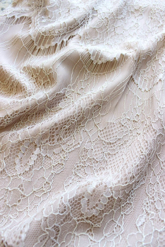 Close-up of Grace Loves Lace High Neck Shift Dress in Champagne detail