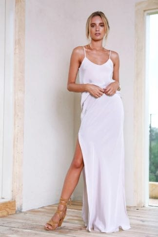 Bridesmaid wearing Grace Loves Lace Belle Silk Split Skirt in Oyster
