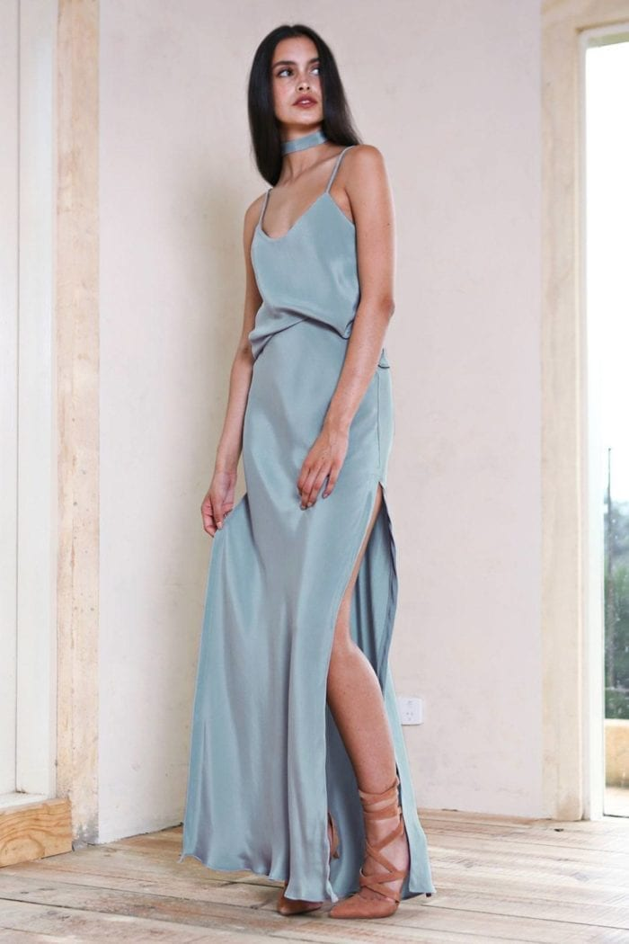 Bridesmaid wearing Grace Loves Lace Belle Long Silk Cami in Seaglass