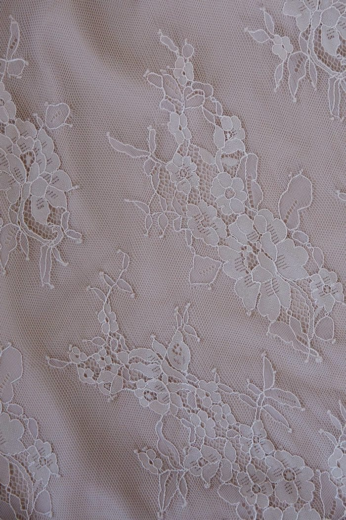Close-up of Grace Loves Lace Belle Lace Swing Skirt in Sandstone detail