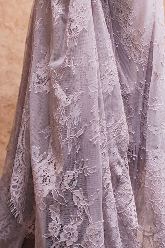 Close-up of Grace Loves Lace Belle Lace Swing Skirt in Oyster