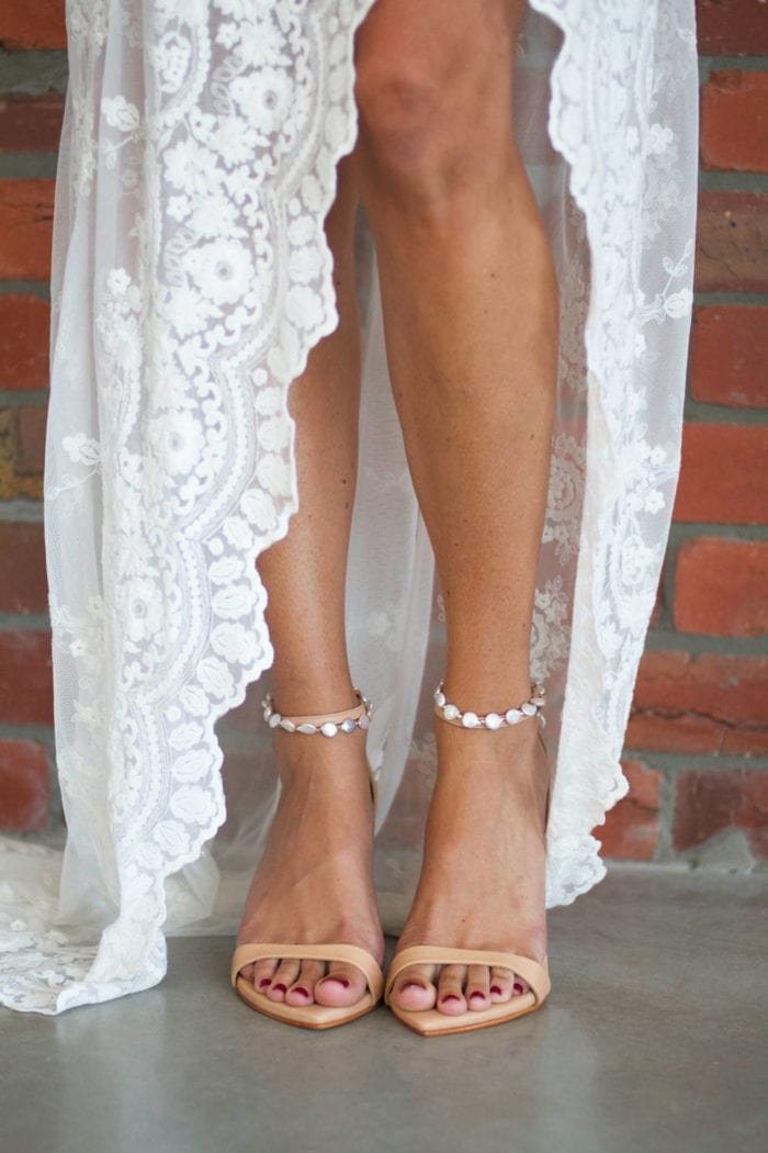 Bride wearing Grace Loves Lace Venus Anklets