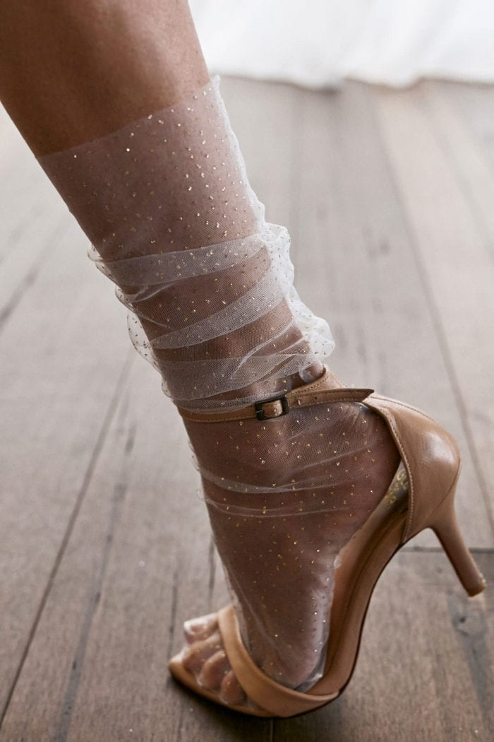 Bride wearing Grace Loves Lace Shimmy Socks and Dosa Heels