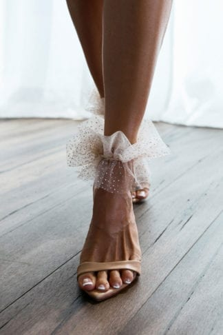 Bride wearing Grace Loves Lace Shimmy Anklets
