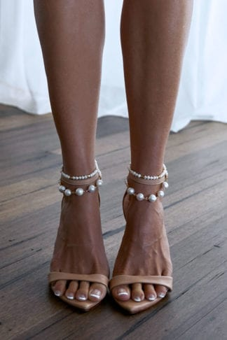Bride wearing Grace Loves Lace Mata Anklets