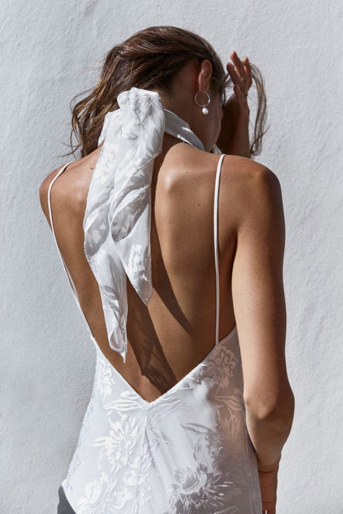 Back shot of bride wearing Grace Loves Lace Loyola Neck Tie